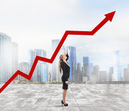 Businesswoman and success uphill Royalty Free Stock Photos