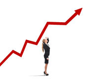 Businesswoman and success uphill Stock Photos