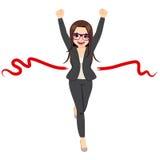 Businesswoman Success Winner Concept. Illustration of beautiful businesswoman winner in business race competition success concept Stock Images