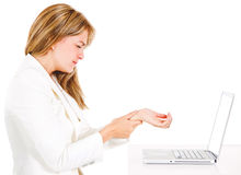 Businesswoman suffering carpal tunnel syndrome Royalty Free Stock Photography