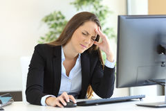 Businesswoman suffering headache royalty free stock image