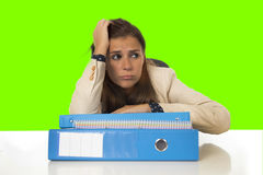 Businesswoman suffering stress and headache at office desk  chroma key screen Royalty Free Stock Image