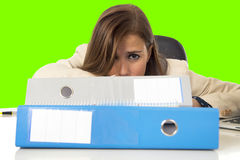 Businesswoman suffering stress and headache at office desk isolated chroma key screen Stock Photography