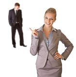 Businesswoman in suit with businessman isolated Stock Photos