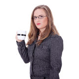 Businesswoman in a suit drinking coffee or tea. Royalty Free Stock Images