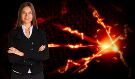 Businesswoman in a suit and glow rays Royalty Free Stock Photo