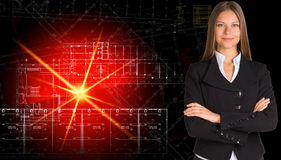 Businesswoman in suit. Glowing architectural Stock Photos