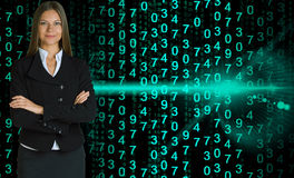 Businesswoman in a suit. Glowing figures Royalty Free Stock Image