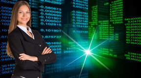 Businesswoman in a suit. Glowing figures Royalty Free Stock Photography