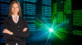 Businesswoman in a suit. Glowing figures Stock Image