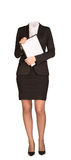 Businesswoman in suit without head, standing and Royalty Free Stock Photo