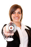 Businesswoman in  suit holding cd Stock Photography