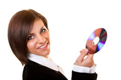 Businesswoman in suit holding cd Stock Photos