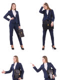 The businesswoman in suit isolated on white Royalty Free Stock Photography