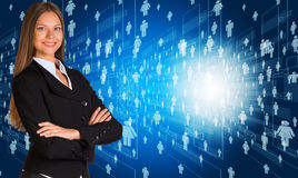 Businesswoman in suit with people icons Royalty Free Stock Photography