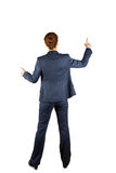 Businesswoman in suit pointing fingers Stock Image