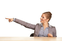 Businesswoman in suit pointing hand Royalty Free Stock Photo