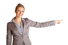 Businesswoman in suit pointing hand Royalty Free Stock Photos