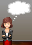 Businesswoman in suit and speech bubble Stock Image