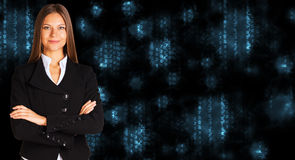 Businesswoman in a suit. White glowing figures Royalty Free Stock Images
