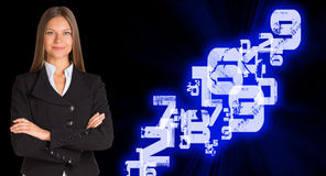 Businesswoman in a suit. White glowing figures Stock Photography