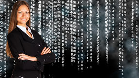 Businesswoman in a suit. White glowing figures Stock Photos