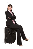 Businesswoman with suitcase Stock Images