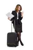 Businesswoman  with suitcase Royalty Free Stock Photography
