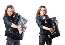 The businesswoman with suitcase on white Royalty Free Stock Photography