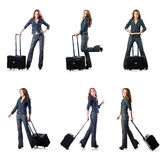 The businesswoman with suitcase on white Stock Image