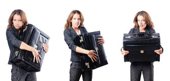 The businesswoman with suitcase on white Stock Photo