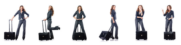 The businesswoman with suitcase on white Royalty Free Stock Photos