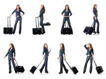 The businesswoman with suitcase on white Royalty Free Stock Image