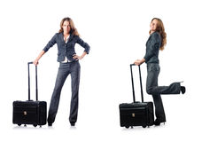 The businesswoman with suitcase on white Royalty Free Stock Images