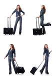 The businesswoman with suitcase on white Stock Photography