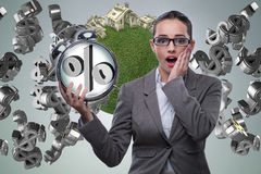 The businesswoman suprised about high interest mortgage rates Royalty Free Stock Photo