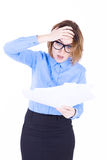 Businesswoman surprised with the documents Royalty Free Stock Photo