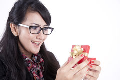 Businesswoman surprised getting a present Stock Images
