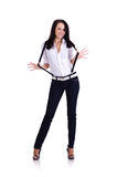 Businesswoman with suspenders Royalty Free Stock Images