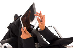 Businesswoman with tablet. In white background Royalty Free Stock Photography