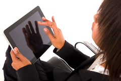 Businesswoman with tablet. In white background Stock Photos