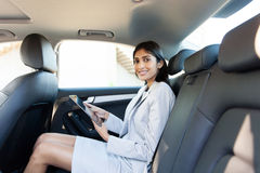 Businesswoman tablet computer car Royalty Free Stock Photography