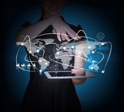 Businesswoman with tablet and 3d world map. On abstract blue background vector illustration