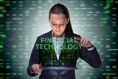 Businesswoman with tablet in financial technology fintech concep. T royalty free stock photography