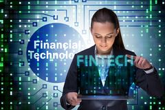 Businesswoman with tablet in financial technology fintech concep. T stock images