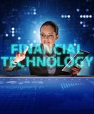 Businesswoman with tablet in financial technology fintech concep. T royalty free stock photos
