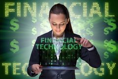 Businesswoman with tablet in financial technology fintech concep. T stock photos