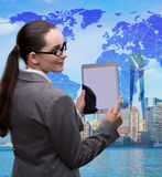The businesswoman with tablet in global business concept Royalty Free Stock Photos