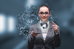The businesswoman with tablet in global business concept Royalty Free Stock Images