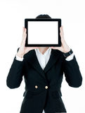 Businesswoman with tablet instead of head Stock Images